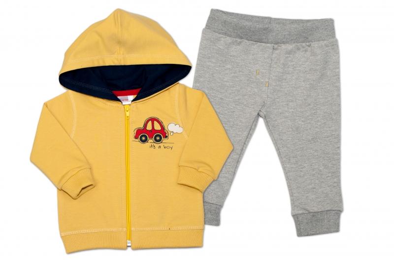Tepláková súprava s kapucňou K-Baby It 'a boy - žltá/sivá, veľ. 80-80 (9-12m)
