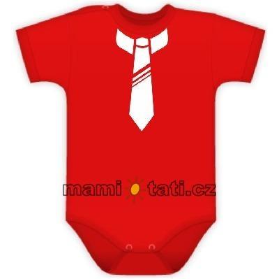 DEJNA Body Kr. rukáv s potlačou kravaty - červené
