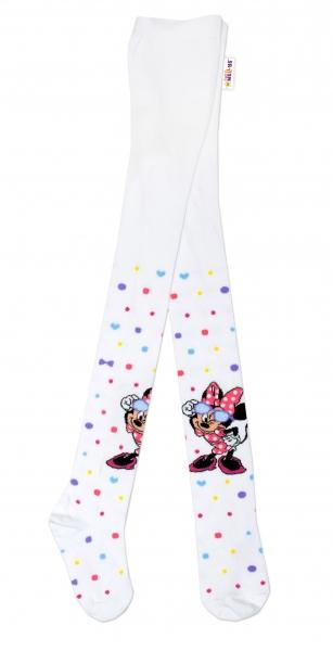 Bavlnené pančucháčky Disney Minnie s okuliarmi - biele, veľ. 92/98