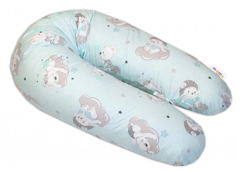 Bavlnený dojčiaci vankúš - relaxačné poduška Baby Nellys, Medvedíky na mráčkách - mätový
