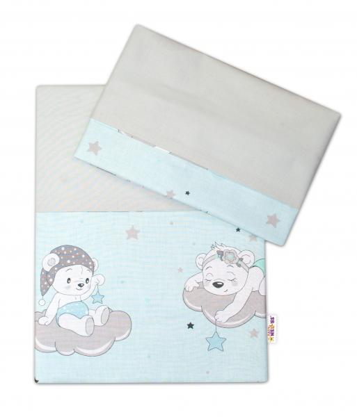 2-dielne bavlnené obliečky Baby Nellys, Medvedíky na mráčkách - mätový