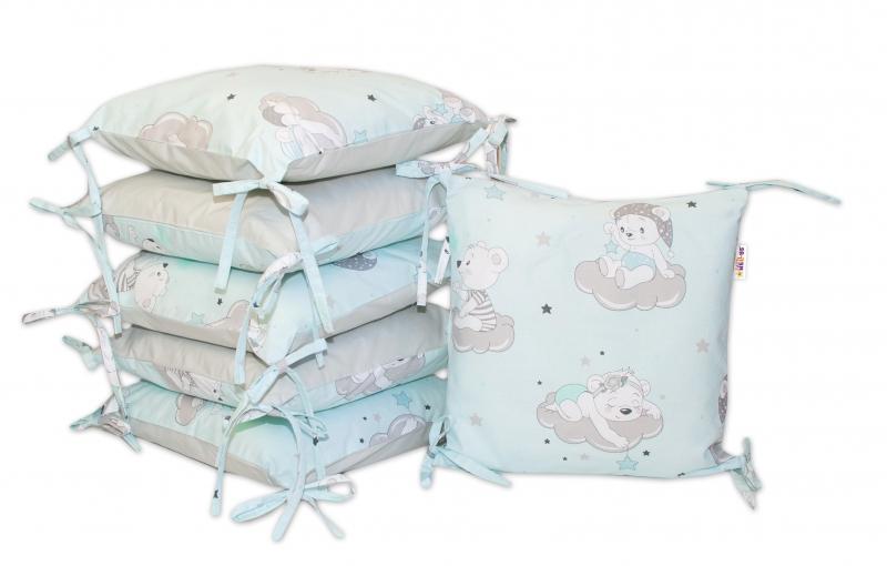 Bavlnený vankúšikový mantinel Baby Nellys, Medvedíky na mráčkách - mätový