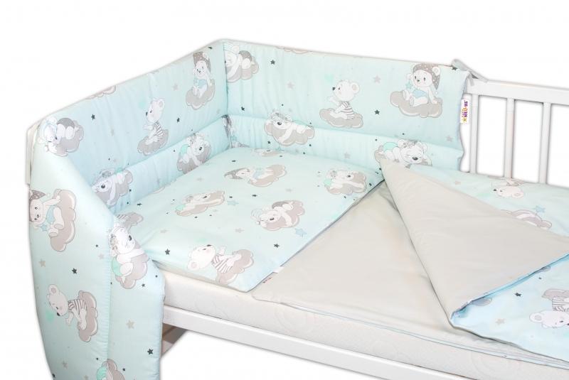 3-dielna sada mantinel s obliečkami Baby Nellys, Medvedíky na mráčkách - mätová, 135x100cm