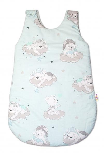 Bavlnený spací vak Baby Nellys, Medvedíky na mráčkách, 74 cm - mätový