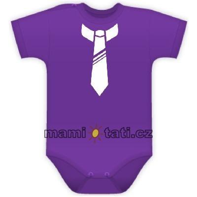 Body Kr. rukáv s potlačou kravaty - fialové