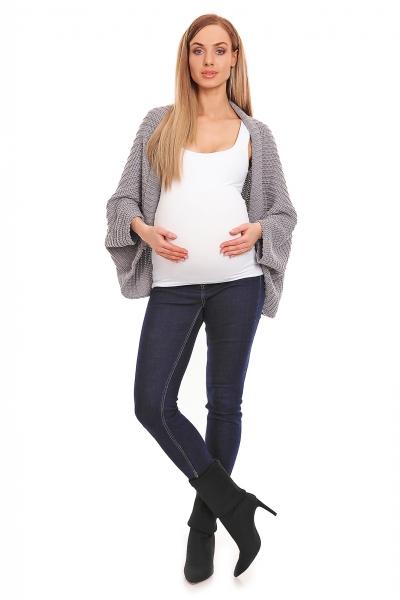Voľný tehotenský kardigan - sivý