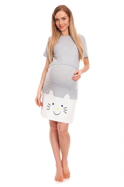 Tehotenská, dojčiaca nočná košeľa  s motívom mačky, kr. rukáv - šedá
