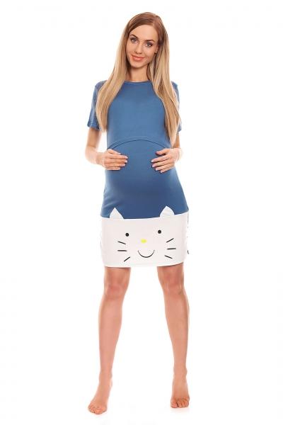 Tehotenská, dojčiaca nočná košeľa s motívom mačky, kr. rukáv - modrá
