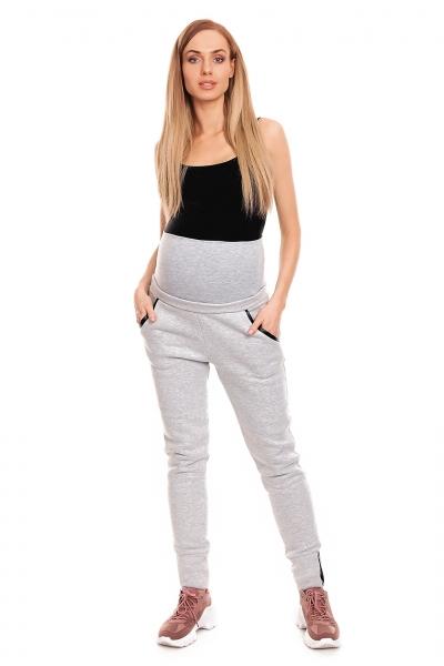 Tehotenské tepláky s pružným pásom - sivé
