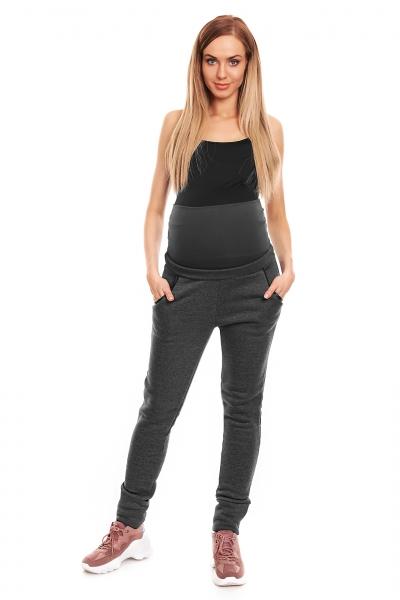 Tehotenské tepláky s pružným pásom - grafitové