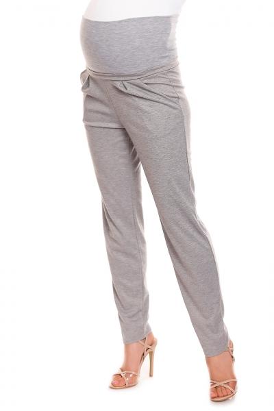 Tehotenské nohavice s pružným, vysokým pásom - sivé