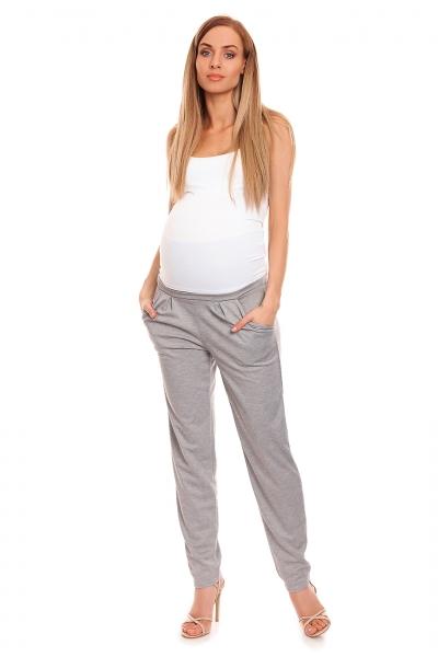 Be MaaMaa Tehotenské nohavice s pružným, vyskokým pásom - sivé, veľ. L/XL