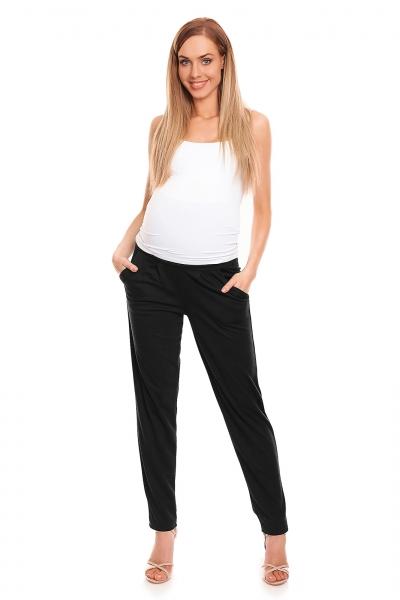 Be MaaMaa Tehotenské nohavice s pružným, vyskokým pásom - čierne