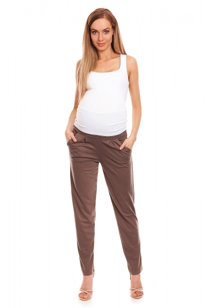 Be MaaMaa Tehotenské nohavice s pružným, vyskokým pásom - cappuccino