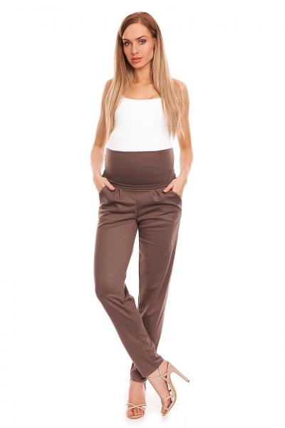 Tehotenské nohavice s pružným, vysokým pásom - cappuccino