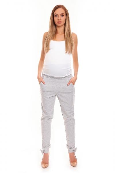 Be Maamaa Tehotenské, bavlnené nohavice/tepláky s pružným pásom - šedé