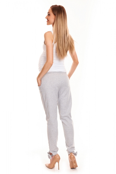 Tehotenské, bavlnené nohavice/tepláky s pružným pásom - šedé