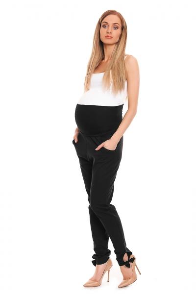Tehotenské, bavlnené nohavice/tepláky s pružným pásom - čierne
