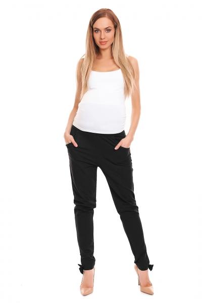 Be Maamaa Tehotenské, bavlnené nohavice/tepláky s pružným pásom - čierne, veľ. L/XL
