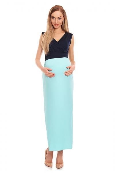 4dade1474 Be Maamaa Tehotenské letné šaty - granát / modré, veľ.