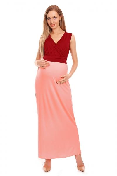 Be Maamaa Tehotenské letné šaty - bordo/růžové, veľ. L/XL