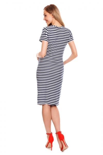 Tehotenské letné šaty - granátový prúžok