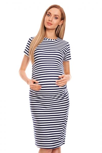 Be Maamaa Tehotenské letné šaty - granátový prúžok, veľ. L/XL