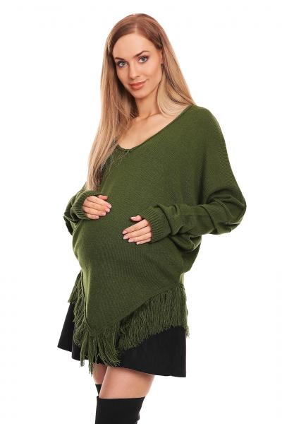 Tehotenské pončo dlhý rukáv - khaki