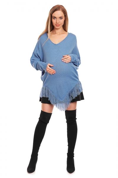 Tehotenské pončo dlhý rukáv - modré