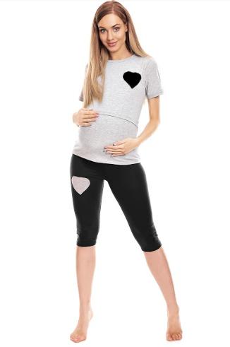 Tehotenské, dojčiace 3/4 pyžamo - srdce - sivé