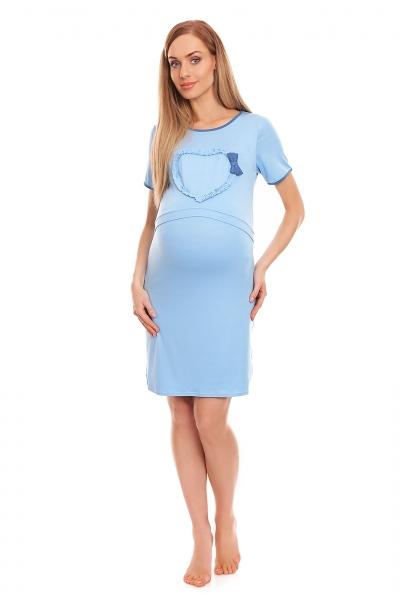Tehotenská, dojčiaca nočná košeľa s lemovaným srdcom, kr. rukáv - modrá