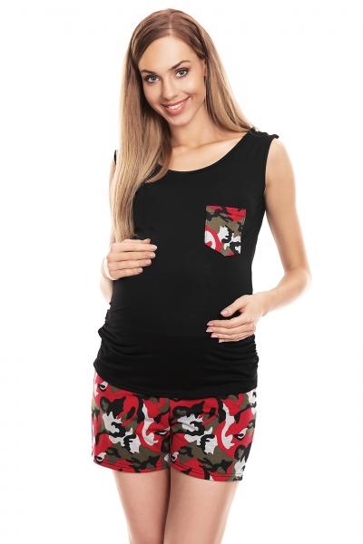 Tehotenské, dojčiace maskáčové pyžamo - čierne