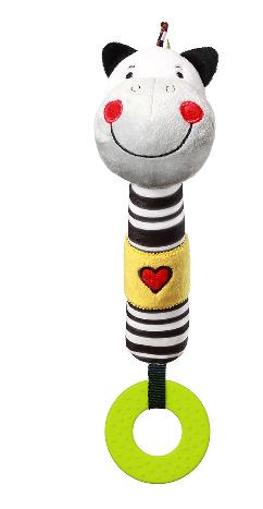 BabyOno Plyšová pískacia hračka s hryzátkom Zebra Zack, 26 cm