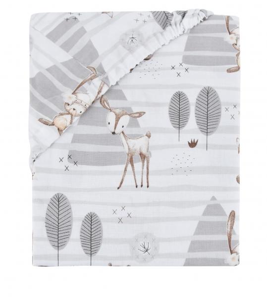 Detské bavlnené prestieradlo do postieľky Baby Nellys - Zvieratka v lese - sivá-#Rozměry;140x70