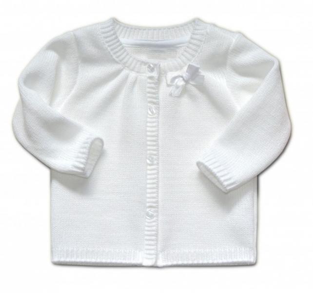 Dojčenský svetrík K-Baby s mašličkou - biely, veľ. 104