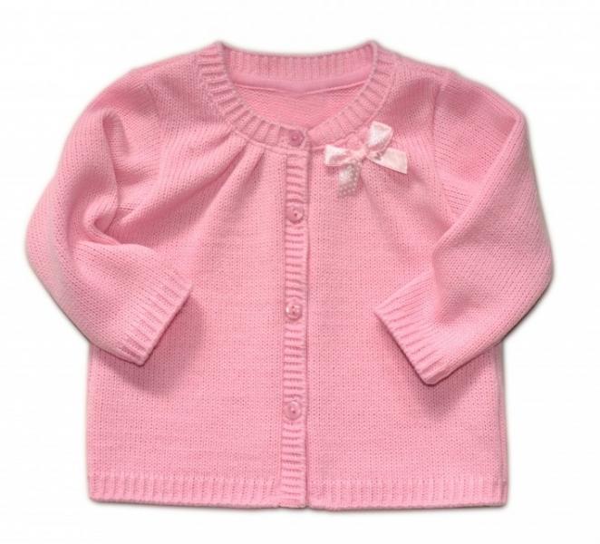 Dojčenský svetrík K-Baby s mašličkou - ružový, veľ. 104-104