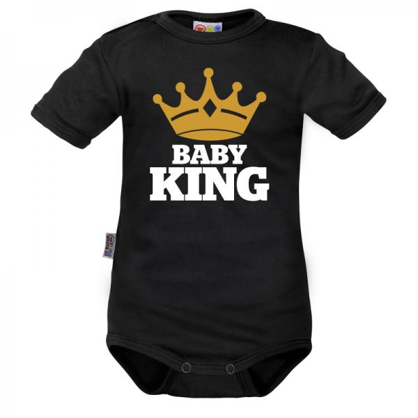 Body krátký rukáv Dejna Baby King - čierne, veľ. 74