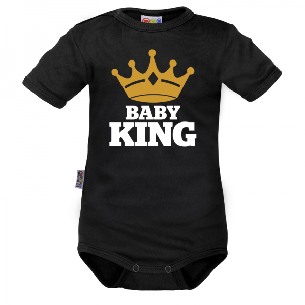 Body krátký rukáv Dejna Baby King - čierne, veľ. 80