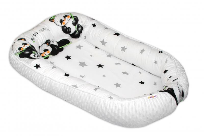 Maxi obojstranné hniezdočko Baby Nellys s Minky pre bábätko Panda - biele