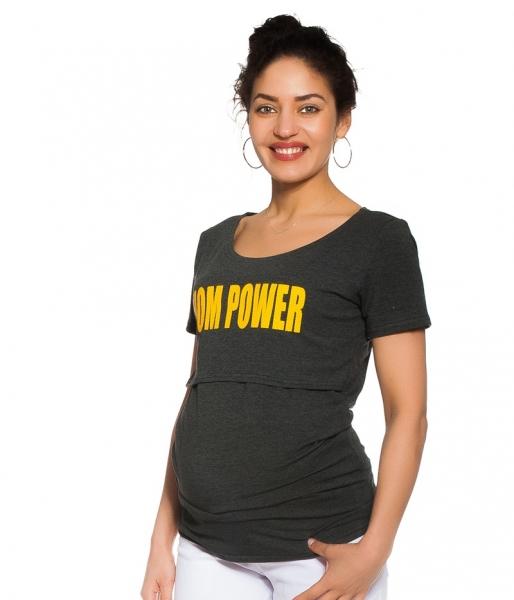 Be MaaMaa Tehotenské, dojčiace tričko - Mom power - grafitové, veľ. S
