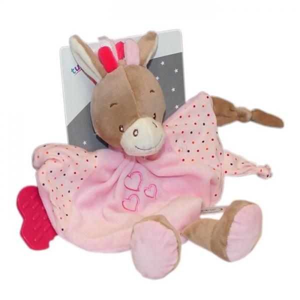 Přítulníček, maznáčik Tulilo s hrkálkou a hryzátkom Oslík s nožičkami, 25x25 cm - ružový