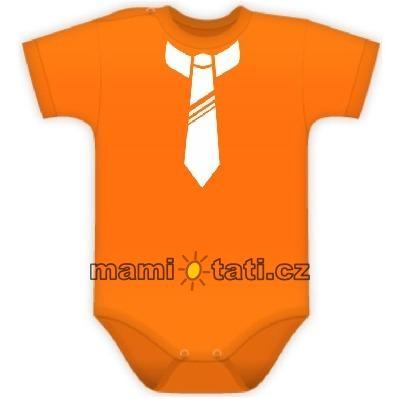 Body Kr. rukáv s potlačou kravaty - pomaranč
