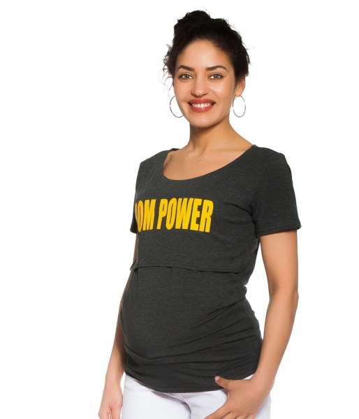 Be MaaMaa Tehotenské, dojčiace tričko - Mom power - grafitové, veľ. M