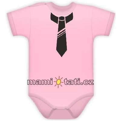Body Kr. rukáv s potlačou kravaty - sv. ružové