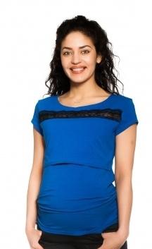 Be MaaMaa Tehotenské, dojčiace tričko s čipkou - tm. modré, veľ. S