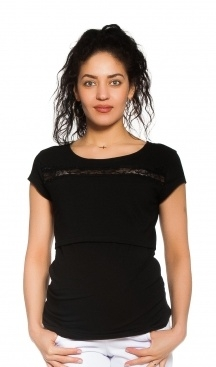 Be MaaMaa Tehotenské, dojčiace tričko s čipkou - čierne, veľ. L