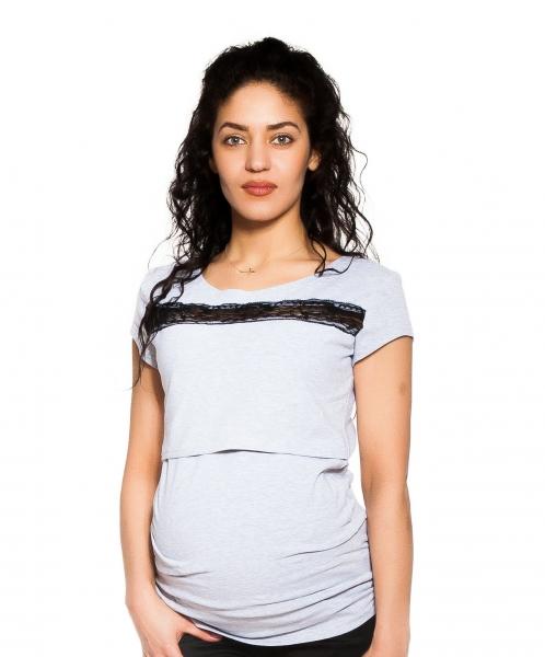 Be MaaMaa Tehotenské, dojčiace tričko s čipkou - sv. sivé, veľ. S