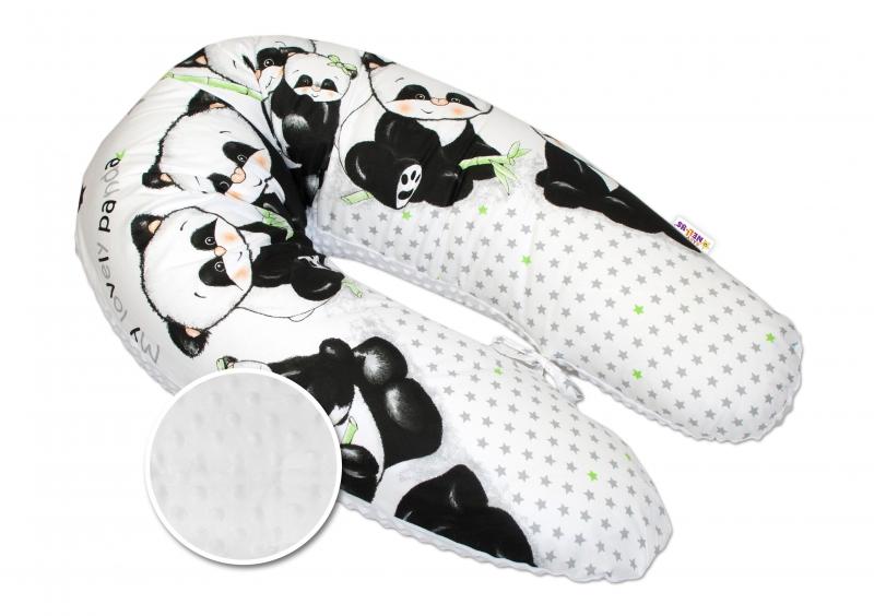 Dojčiace vankúš - relaxačná poduška Minky Baby Nellys, Panda biela