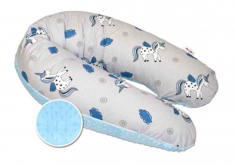 Dojčiaci vankúš - relaxačná poduška Minky Baby Nellys, Jednorožec modrý/sivý
