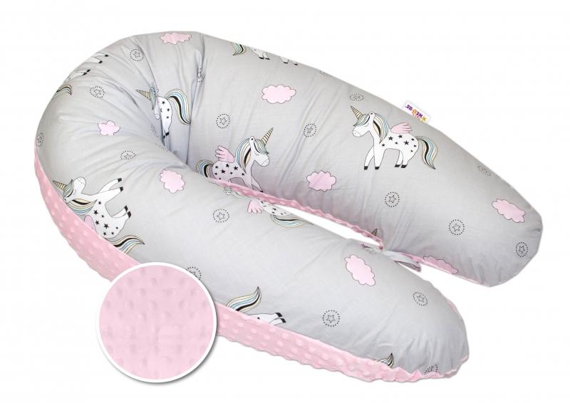 Dojčiace vankúš - relaxačná poduška Minky Baby Nellys, Jednorožec ružový/sivý